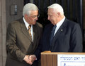 Mahmoud abbas and ariel sharon palestinian authority president also known as abu mazen israeli prime minister shake hands outside Royalty Free Stock Photography