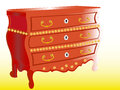 Mahogany chest of drawers less common shapes with drawers and ornaments often used as a dresser Stock Photos