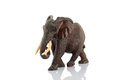 Mahogany elephant statuette on white Stock Photography