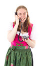 Maid dialling her friend Royalty Free Stock Photo