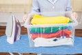 Maid Holding Laundry Basket Royalty Free Stock Photo