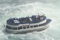 Maid of the mist niagara falls tourboat at usa and canada after it has entered Royalty Free Stock Image