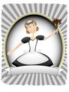 Maid in Oval Ad Blank Banner Setting Stock Image