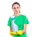 Maid woman is ready for cleaning isolated white background Royalty Free Stock Image