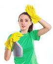Maid woman is ready for cleaning isolated white background Royalty Free Stock Photo