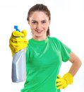 Maid woman is ready for cleaning isolated white background Stock Photography