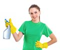 Maid woman is ready for cleaning isolated white background Stock Photos