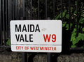 Maida vale street name sign is a popular residential district in central london Stock Photo