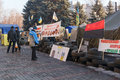 Maidan krivoy rog ukraine dec people demand the resignation of the government of krivoy rog living in tents in front of the city Stock Photos