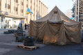 Maidan krivoy rog ukraine dec people demand the resignation of the government of krivoy rog living in tents in front of the city Royalty Free Stock Images