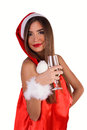 Maiden celebrates new year girl with a glass of champagne Royalty Free Stock Images