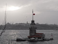 The maiden s tower and historic peninsula black and white with red istanbul turkey january are visible in istanbul at sunset Stock Image