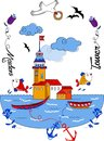 Maiden's Tower vector cartoon beautiful design Royalty Free Stock Photo