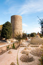 The maiden tower baku azerbaijan known locally as giz galasi located in old city in Stock Photography