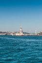 Maiden tower with city skyline over the sea in a bright day and blue sky Royalty Free Stock Photography