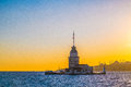 Maiden tower istanbul the beautiful at sunset in turkey Royalty Free Stock Images