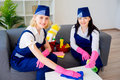 Maids of cleaning service Royalty Free Stock Photo