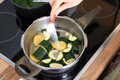 Maiking of a zuccini creme soup Royalty Free Stock Photo