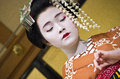 Maiko geisha kyoto a at is young apprentice Royalty Free Stock Image