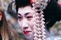 Maiko kamishichiken kyoto japan april has attent to baika sai festival also baien ume garden Royalty Free Stock Photos