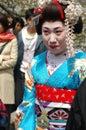 Maiko kamishichiken kyoto japan april has attent to baika sai festival also baien ume garden Stock Images