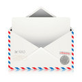 Mail Air Envelope with Postal Stamp isolated on white background Royalty Free Stock Photo