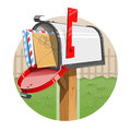 Mail box with letters eps illustration on white background Stock Photo