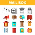 Mail Box, Post Linear And Flat Vector Icons Set
