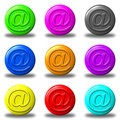 Mail button set round Stock Photo
