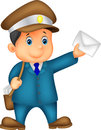 Mail carrier cartoon with bag and letter illustration of Royalty Free Stock Photos