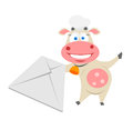 Mail cow illustration of chef on white background Stock Photo