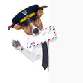 Mail dog behind banner and waving Royalty Free Stock Image