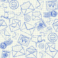 Mail doodles seamless pattern illustration of on squared school paper Stock Photos