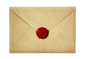 Mail envelope or letter sealed with wax seal stamp isolated on white Royalty Free Stock Image