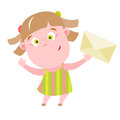 Mail girl vector illustration of little with paper letter Stock Photography