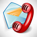 Mail icon and red telephone Stock Photos