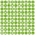 100 mail icons hexagon green