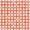 100 mail icons hexagon orange