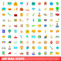 100 mail icons set, cartoon style