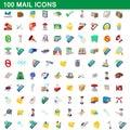 100 mail icons set, cartoon style