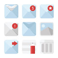 Mail icons set square in blue color Royalty Free Stock Photos