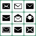 Mail icons various set illustration Stock Photography