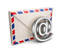 Mail letter with e-mail symbol. 3D Icon isolated Royalty Free Stock Photography