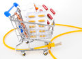 Mail order pharmacy drug in shopping trolley Stock Photography