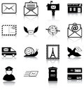 Mail related icons silhouettes Stock Photos