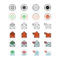 Mail service icon set