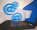 Mail signs leaving laptop shows electronic mails or correspondence Stock Photos
