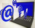 Mail signs leaving laptop shows ongoing messages and live communication Stock Photography
