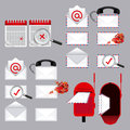 Mail types over gray background vector illustration Royalty Free Stock Photos