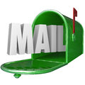 Mail word mailbox postal delivery new message communication the in a green metal to represent of a letter or other form of Royalty Free Stock Photos